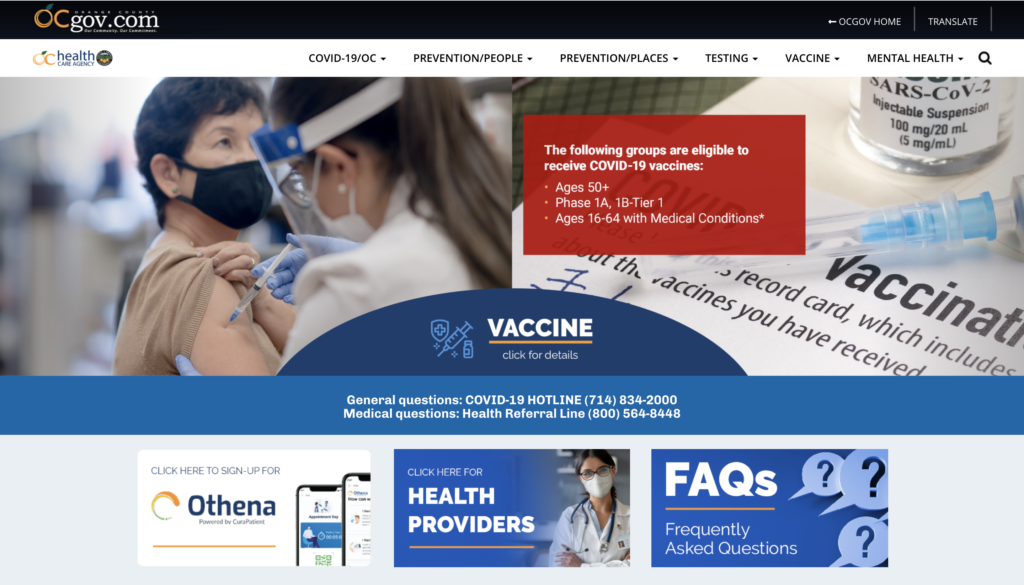 Orange County Health Care Agency website on COVID-19 information.