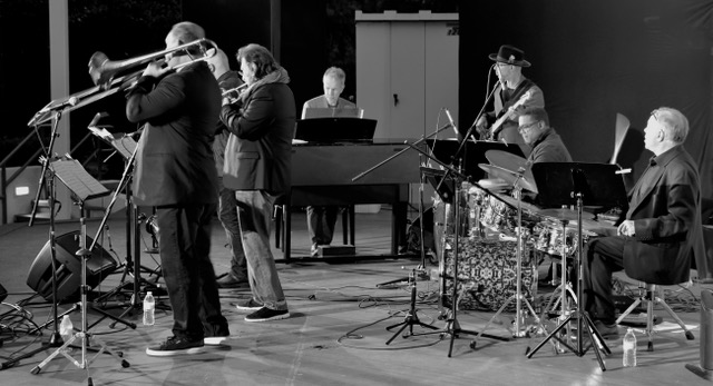 Bill Cunliffe and others performing onstage at The Muck's 2019 Jazz Festival.
