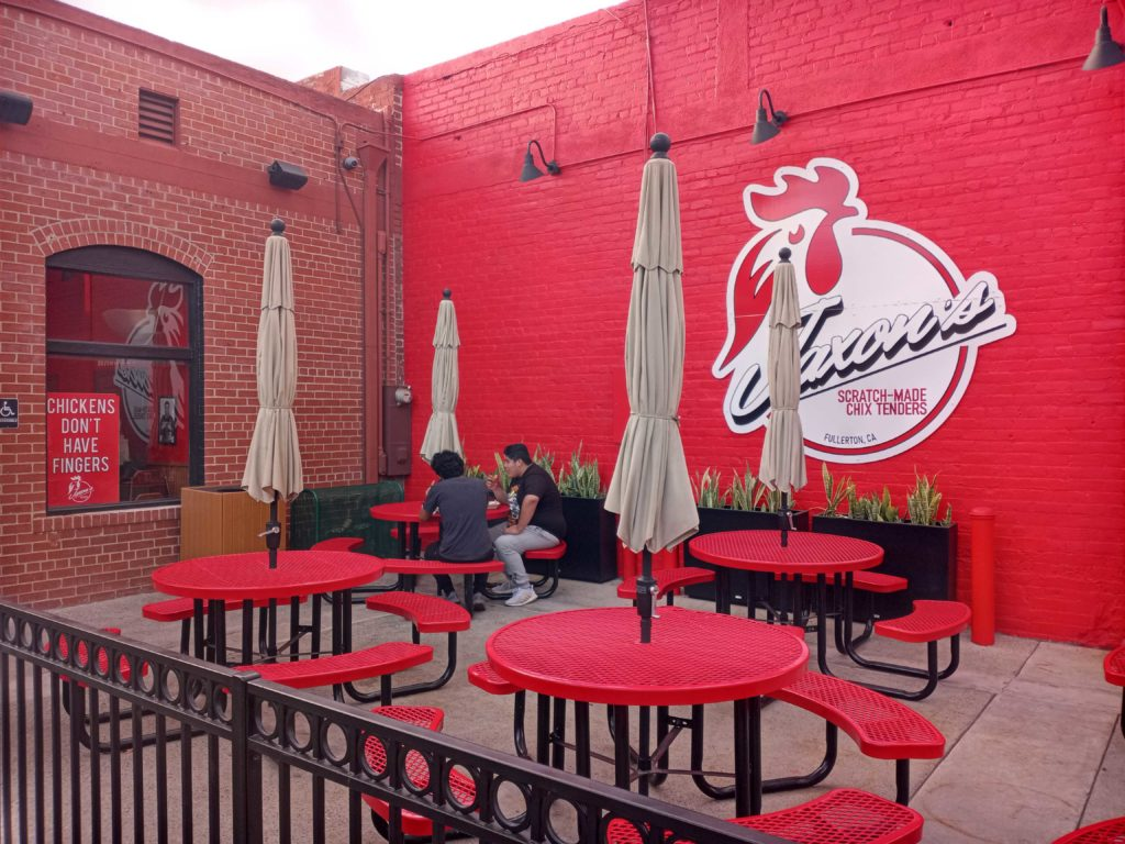 Jaxon's Chix Tenders has patio seating available in the rear of the restaurant.