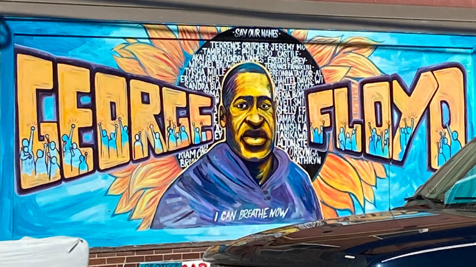 A George Floyd memorial mural, outside of Cup Foods, located in South Minneapolis, MN, since 1989. The part grocery store, part convenience store, part restaurant, has become synonyms with today's civil rights movement and the death of George Floyd. Who died while in police custody, when Derek Chauvin kneeled on Floyd's neck for over eight minutes, ultimately ending his life.