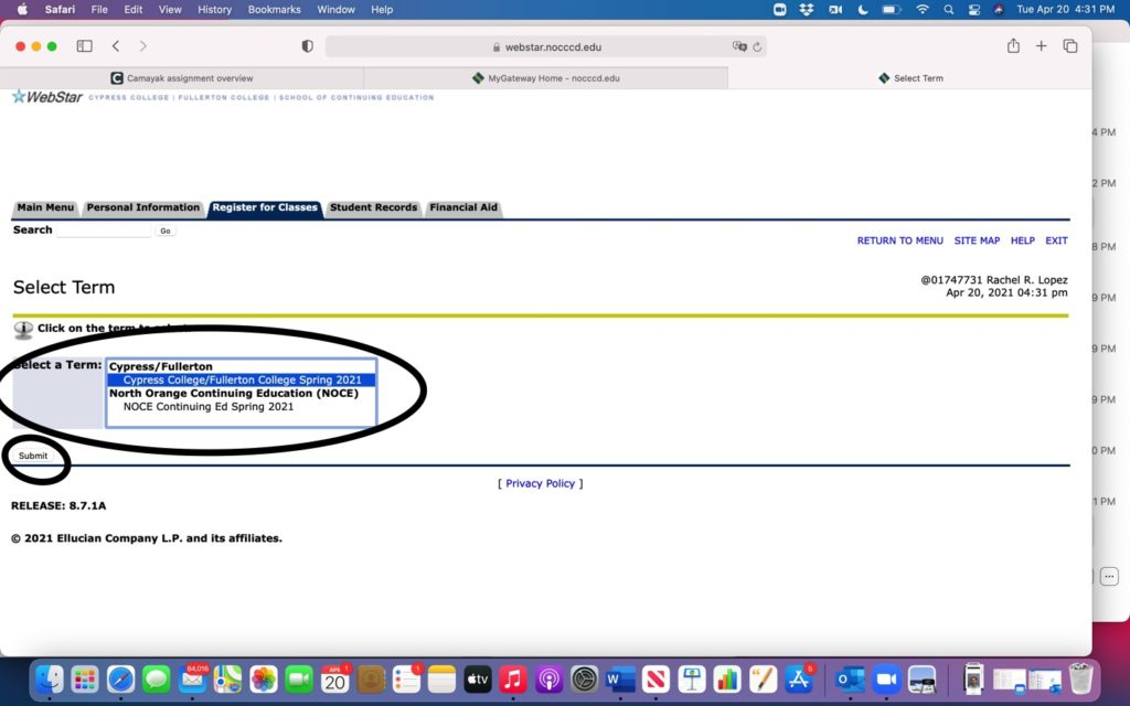 """Screenshot of the """"Select Term"""" page within myGateway program."""
