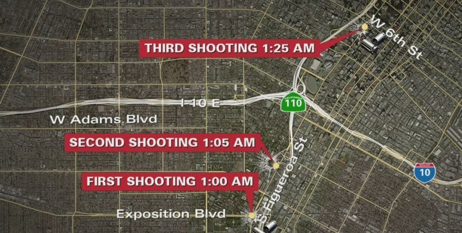 A map of the three shootings which happened in Los Angeles