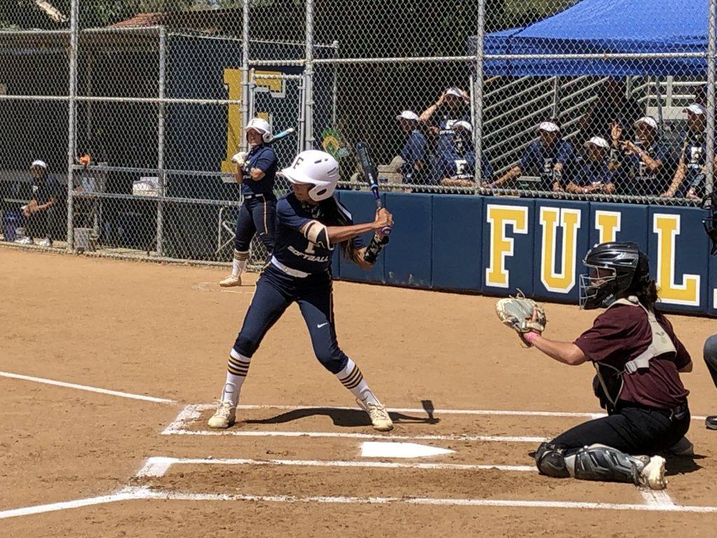 Freshman outfielder Madison Ferguson batting leadoff for the Hornets during a scrimmage against Mt. Sac