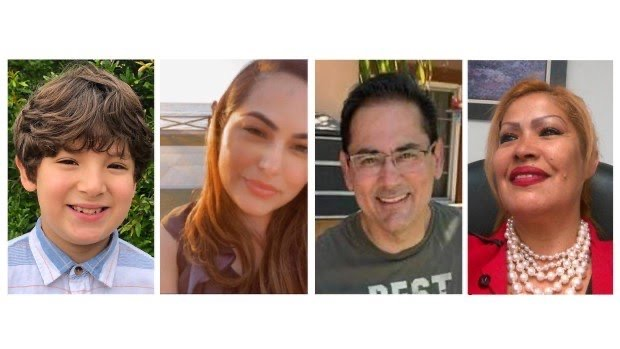 From left: Matthew Farias,9; Jenevieve Raygoza, 28; Luis Tovar, 50; and Leticia Solis Guzman, 58 were killed Wednesday, March 31, in a mass shooting at an office complex in Orange.