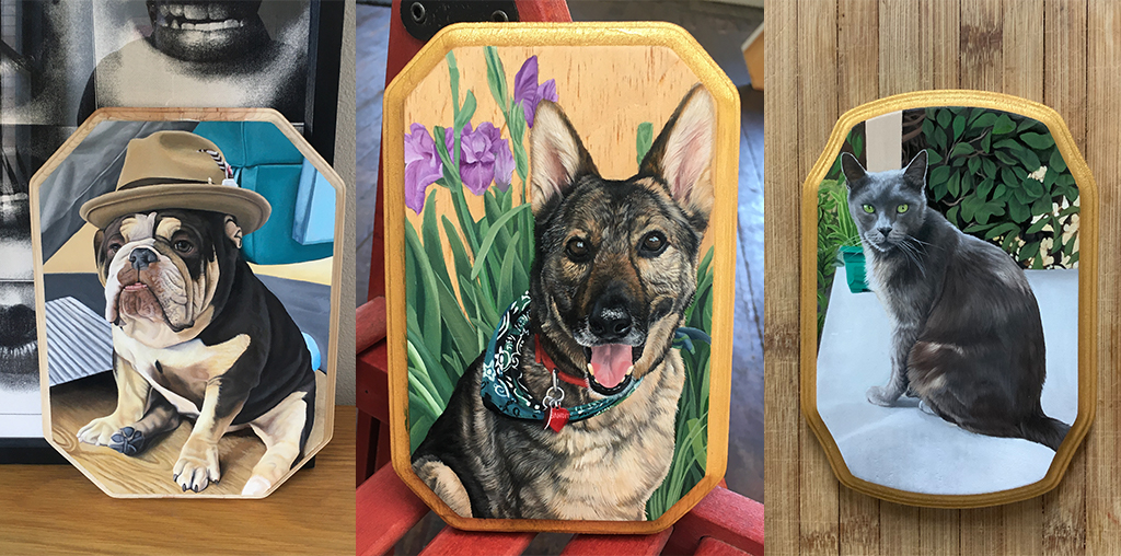Portraits of pets that Kingsby has painted for clients.