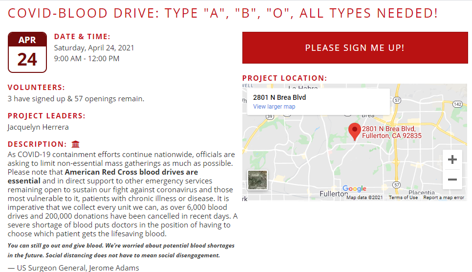 Love Fullerton is hosting a blood drive along with the other projects on April 24.