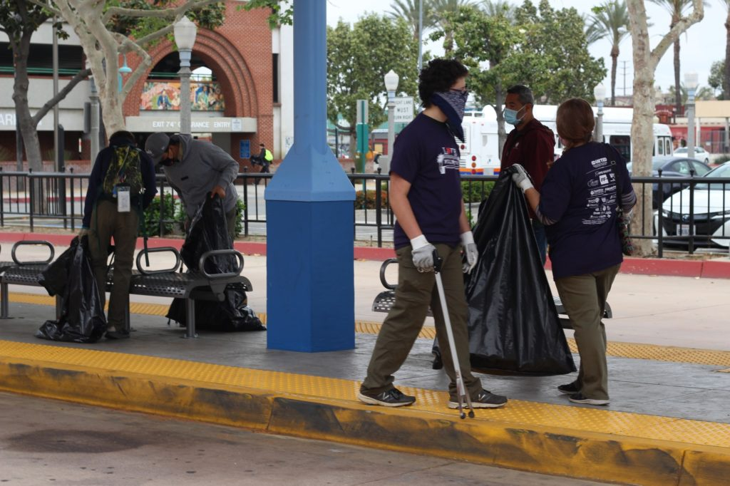 The Fullerton Train Station's clean-up crew was tasked with picking up litter primarily around the station's area. They cleaned from Harbor Boulevard to Lemon Street, on both sides of the track.