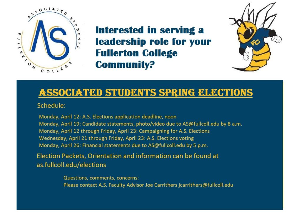 FC's Associated Students Spring 2021 schedule for candidates wanting to run for student government.