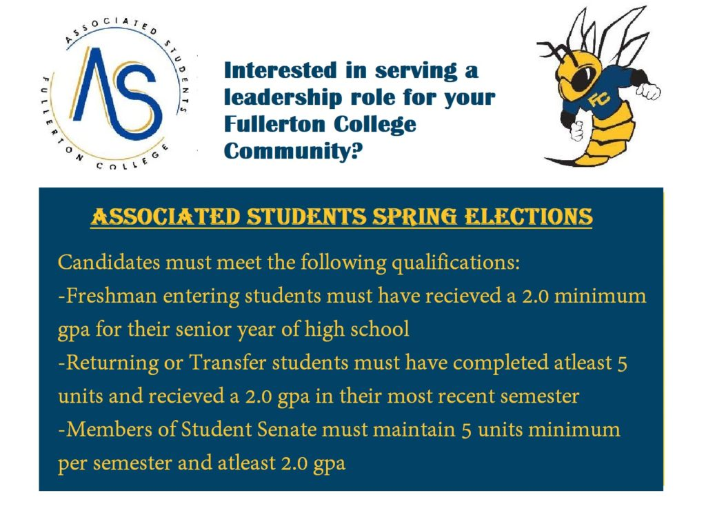 Fullerton College's A.S. qualification criteria for prospective students interested in running for office.