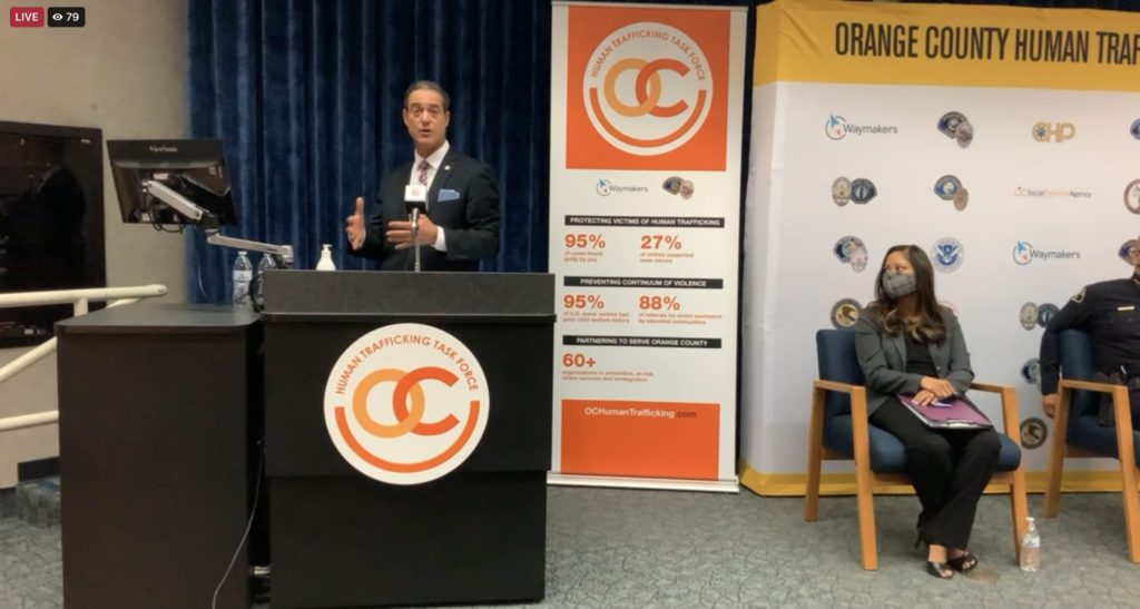 OCDA Todd Spitzer was invited to speak on the state of human trafficking in Orange County. The OCDA office is one of several partnerships under the OCHTTF.