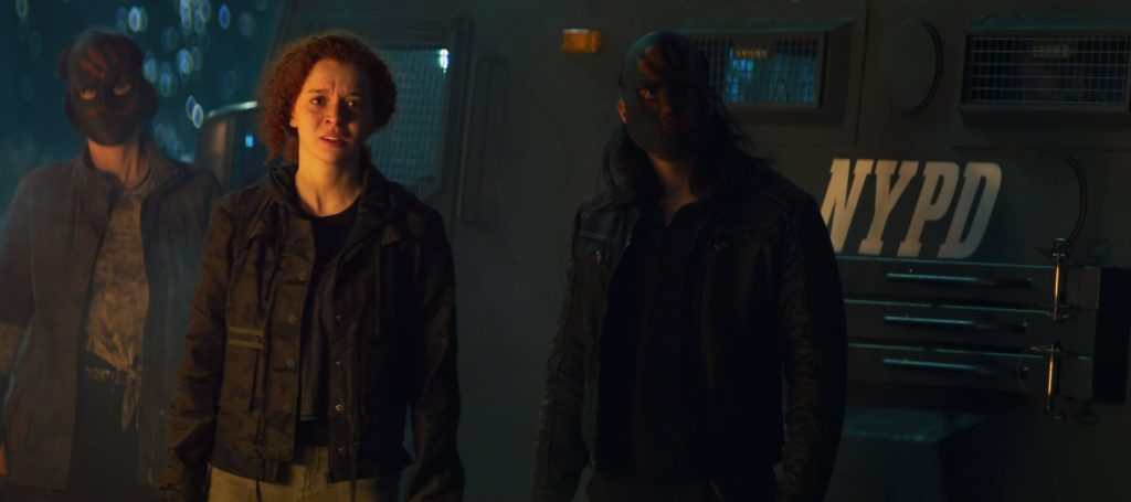 (Center): Karli Morgenthau (Erin Kellyman) in Marvel Studios' THE FALCON AND THE WINTER SOLDIER exclusively on Disney+. Photo courtesy of Marvel Studios. ©Marvel Studios 2021. All Rights Reserved.
