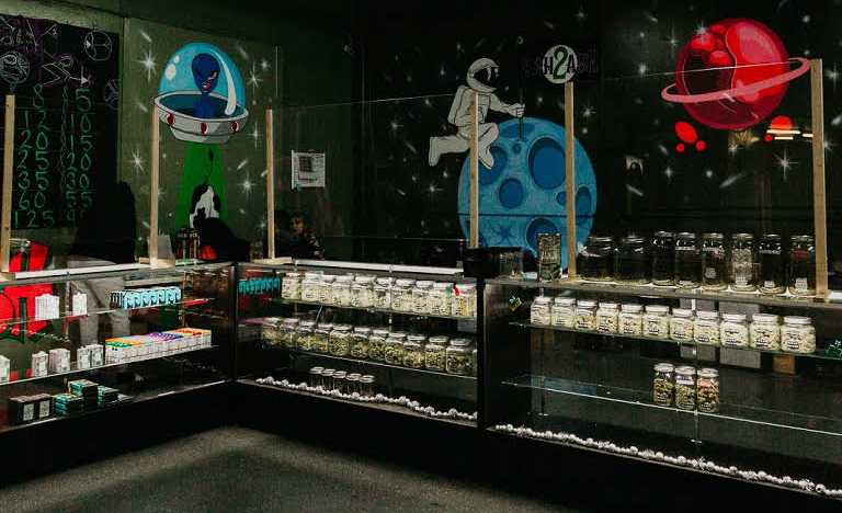 """The inside of a black market&squot; cannabis vendor location in Fullerton. According to their website, Ash2Ash is an """"Alternative Medicine Practitioner in Fullerton."""""""