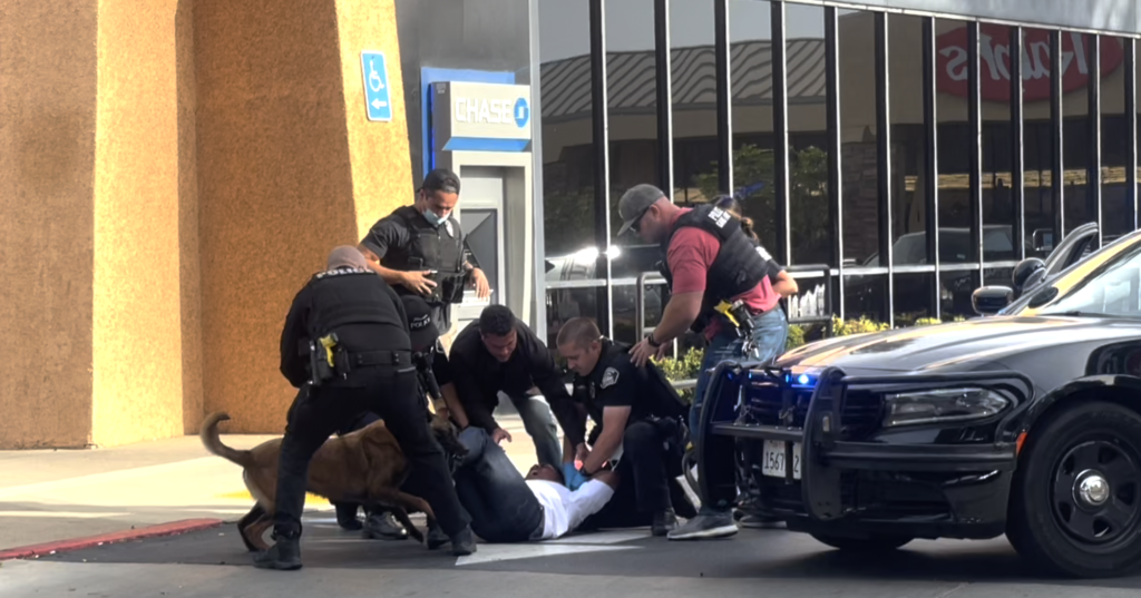 FPD officers taking down the second suspect involved in a high-speed pursuit with the help of a canine in the city of Fullerton.