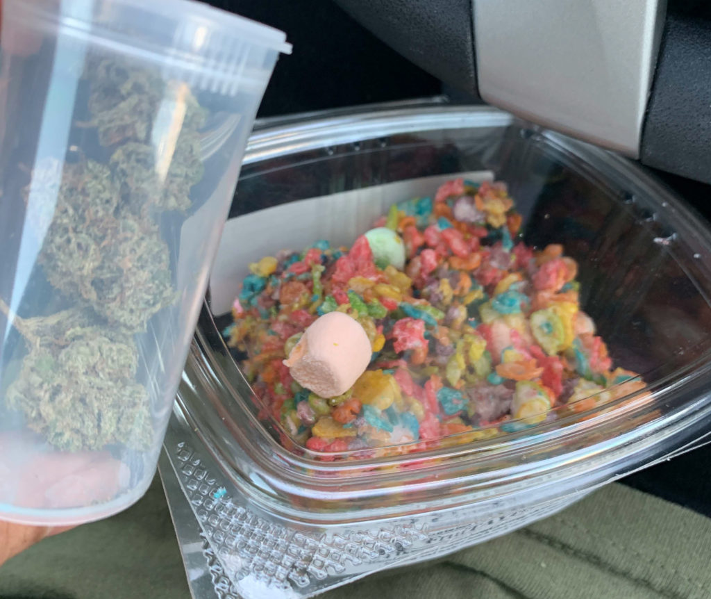 A gram of cannabis and marijuana-infused fruity pebble and marshmallow edible bars.
