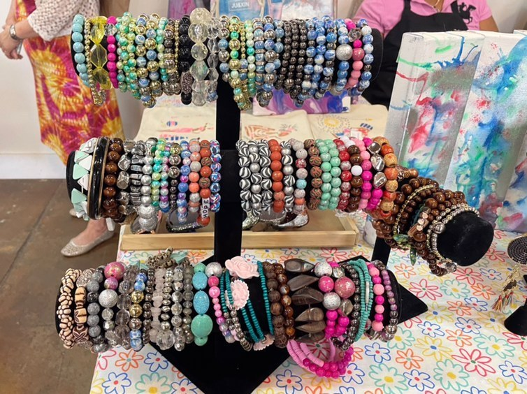 Different options of handmade bracelets offered by Defining Purpose Jewelers at the Sunshine Handmade Market on May 1.
