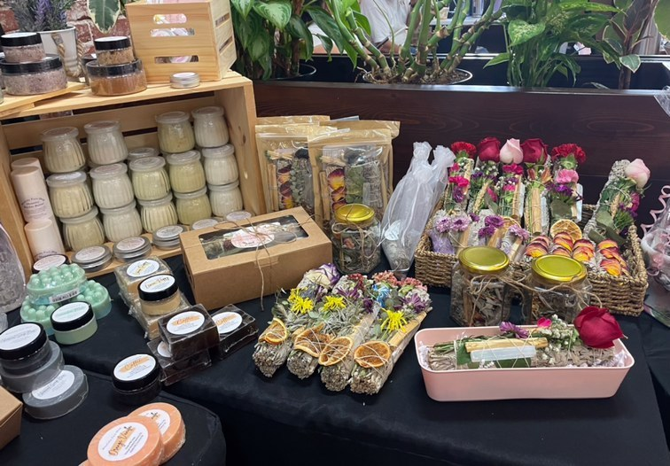 A small part of Blissfully Pure Shop's set up at the Sunshine Handmade Market at Downtown Fullerton.