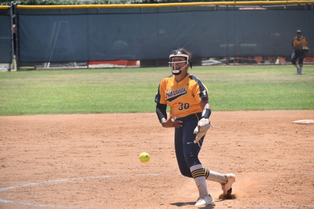 Following today's games, Hornet pitcher Jessica Lopez earned one win and one loss, making her record 10-2 on the season.