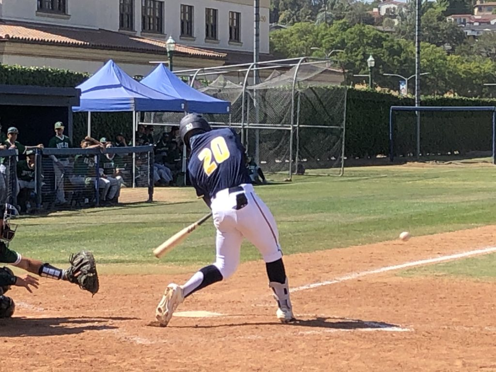 Hornets left fielder Dominic Martinez was one of the few bright spots for the team Tuesday going three for five with this double off the wall in center field.