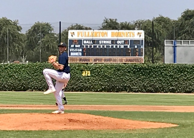 Justin Schubert on the mound Thursday where he pitched seven solid innings