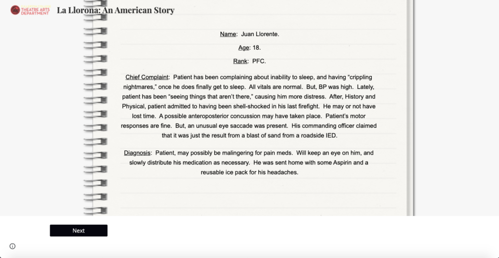 """One of the documents in the interactive story of """"La Llorona."""""""