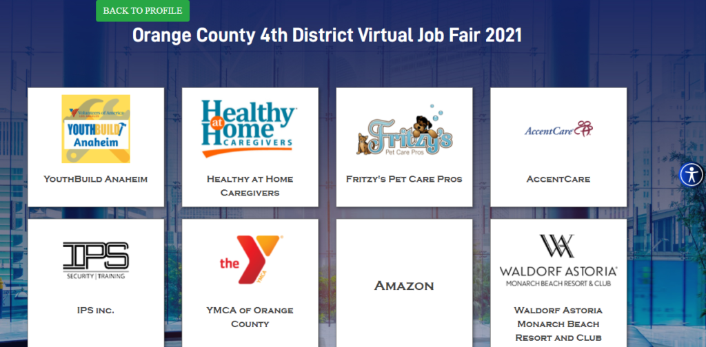 Over 80 companies were present at the Orange County 4th District Virtual Job Fair, each booth equipped with the company's bio, a link to their website and a live representative available to chat.
