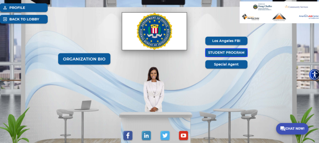 Each individual booth at the virtual job fair provided information on programs and internships job seekers could apply for, and some even included job vacancies the company was looking to fill.