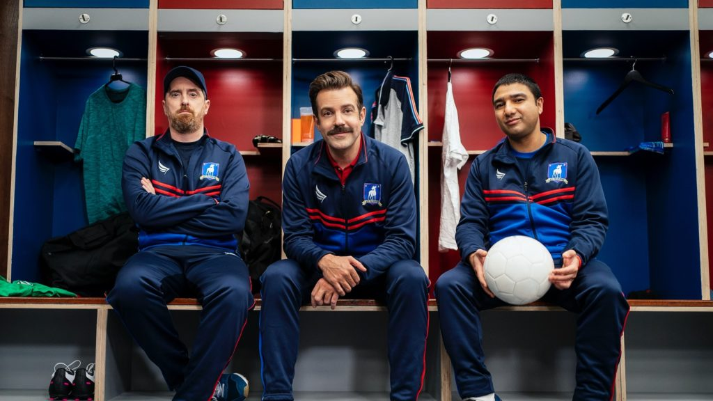 Brendan Hunt (left), Jason Sudeikis (middle), Nick Mohammed (right) are amongst the stars in Ted Lasso. Ted Lasso premiered on Apple TV+ on Aug.14, 2020.