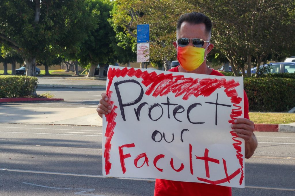 Many protestors in attendance were a part of United Faculty, the faculty union of NOCCCD. Others present were a Fullerton College adjunct professor and students from Fullerton, Cypress and El Camino College.