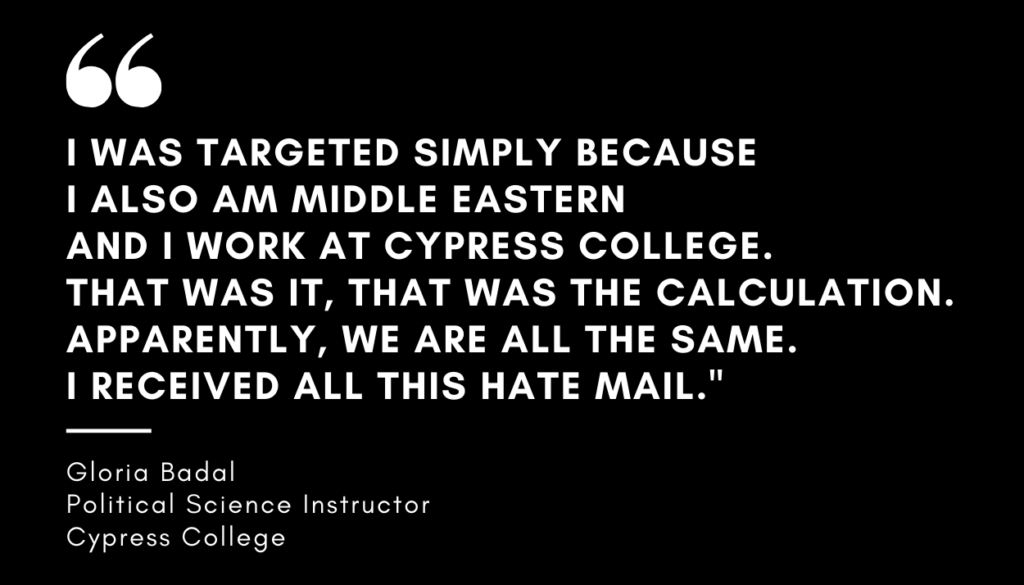 A comment made by a Cypress College instructor during the Cypress Faculty Senate Meeting Thursday, May 6. The instructor noted the harassment received for three days following the viral video.
