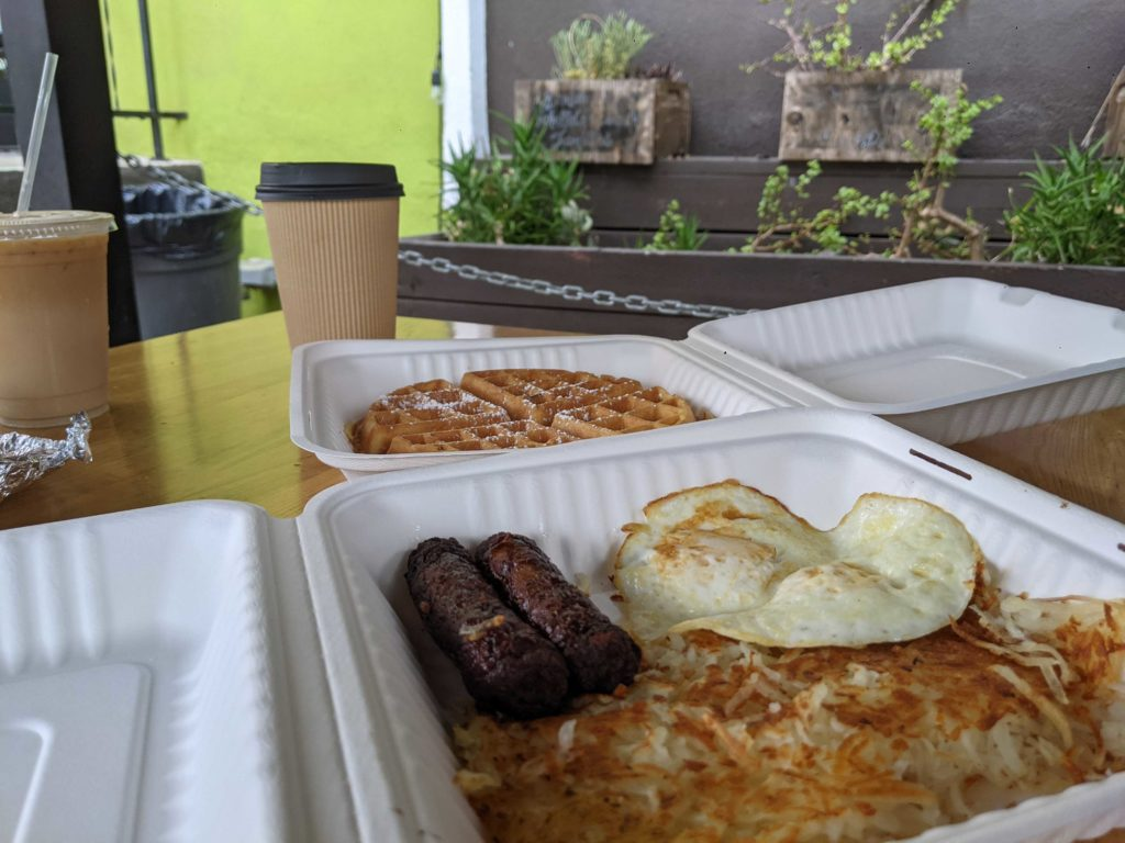 The traditional breakfast with a waffle, eggs, sausage, and hashbrowns. Each item can be swapped for an alternative