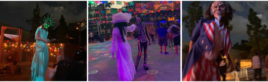 Several images showing various attractions at HHN.