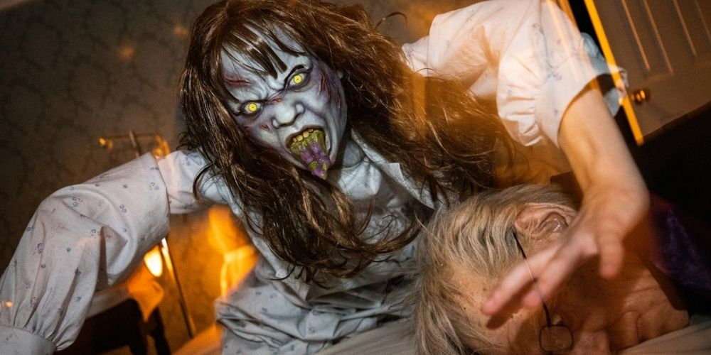 Castmembers perform in The Exorcist maze at Universal Studios Hollywood Horror Nights.