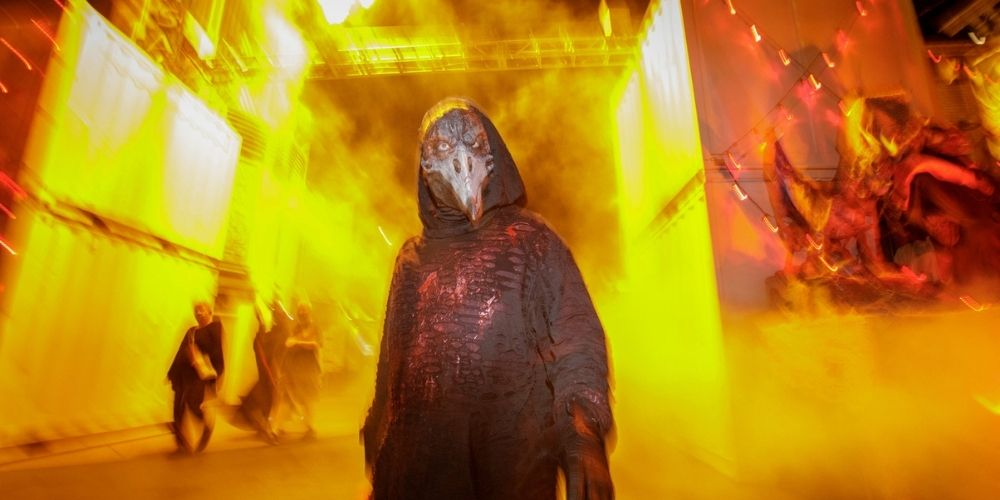 Castmember in a scare zone at Universal Studios Hollywood Horror Nights.