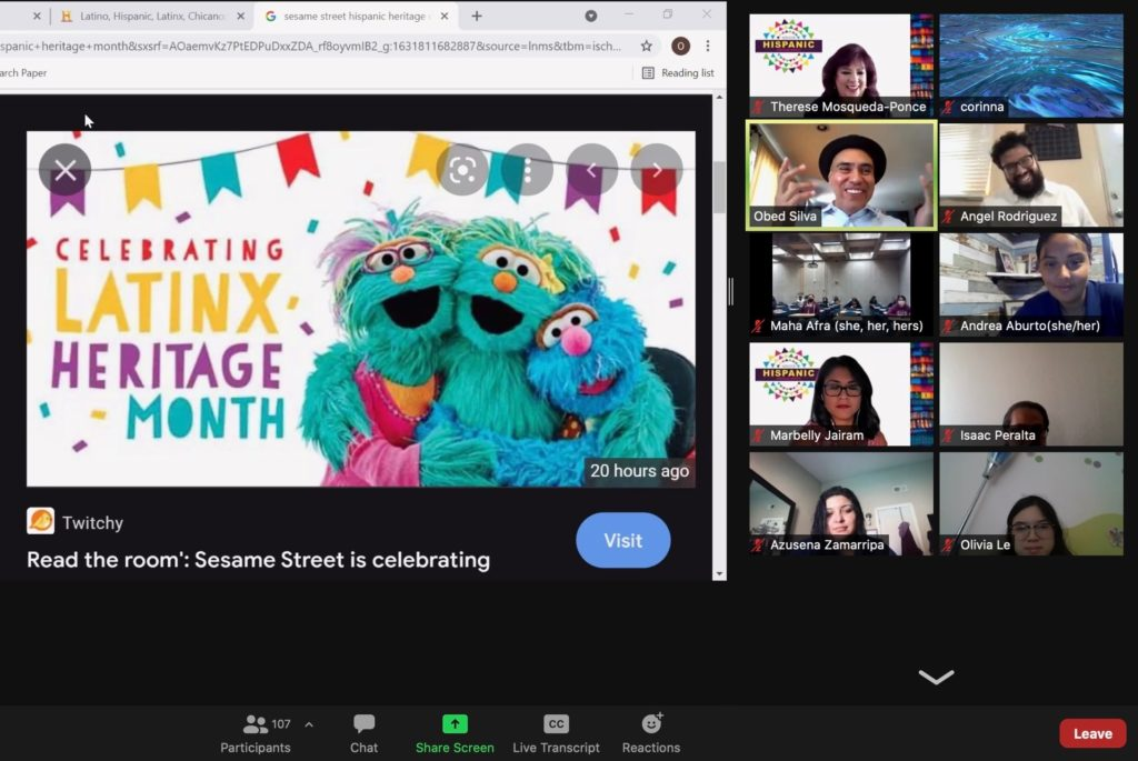 While discussing Hispanic, Chicano/a/x and Latino/a/x origins, Obed Silva [green highlighted box] pointed out how Sesame Street has adopted the name Latinx Heritage Month.