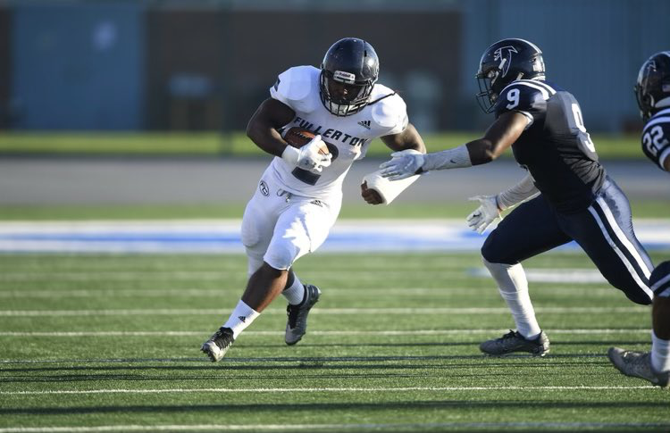 Fullerton College running back Branden Rankins had 80 total yards and three touchdowns in the Hornets win over Cerritos College
