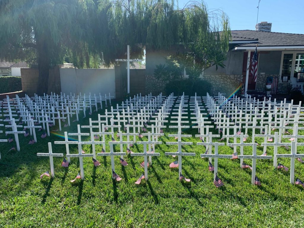 A field of crosses mark the men and women of the New York Police Department during the attack who have died since.