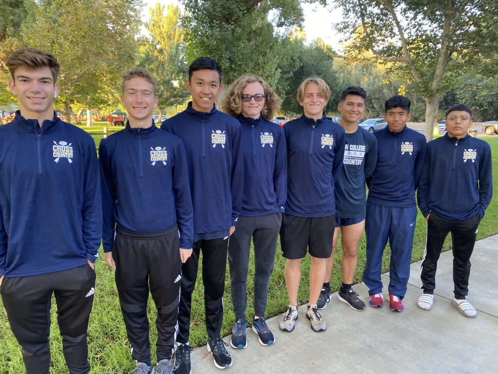 The Hornets Cross-Country team before a meet (Cyrus Burton is fourth going left to right).