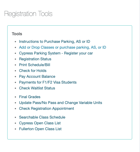 Select the Add or Drop class or purchase parking, AS, or ID
