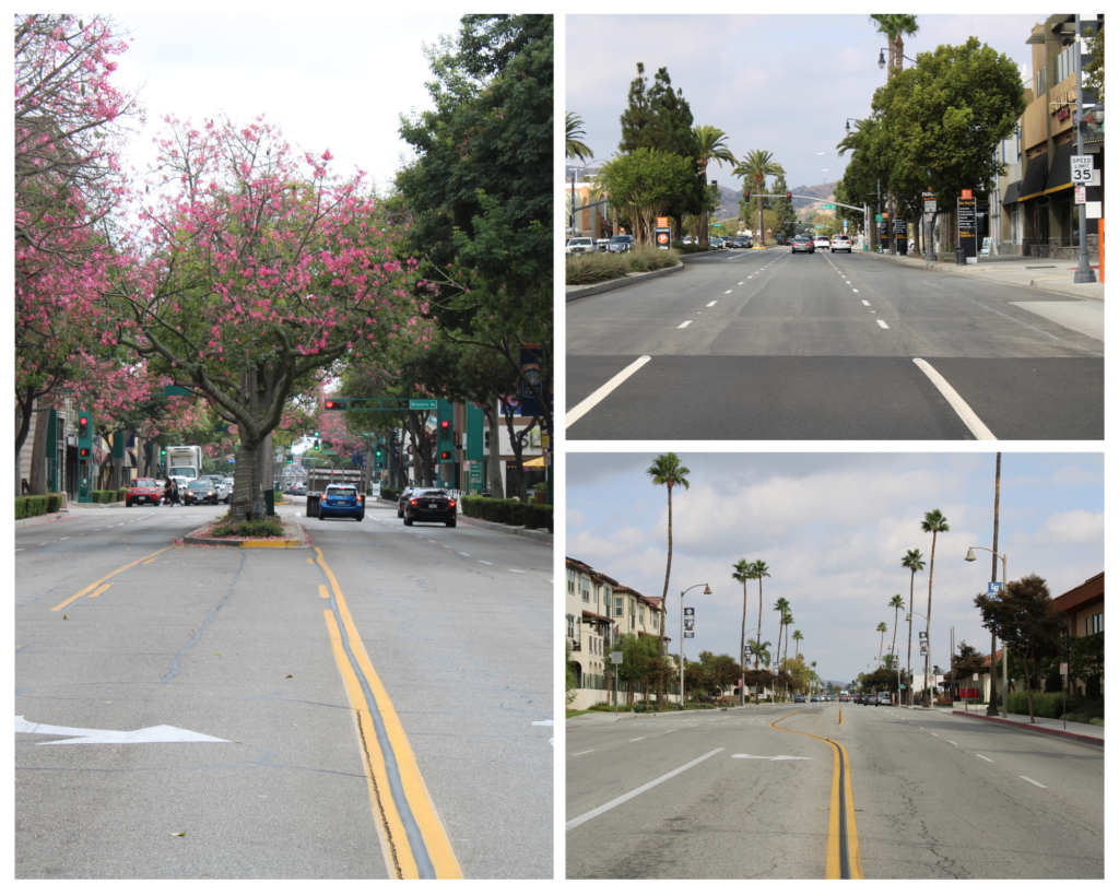 Comparison of Downtown Fullerton (left), Downtown Brea (top right), and Downtown La Habra (bottom right).