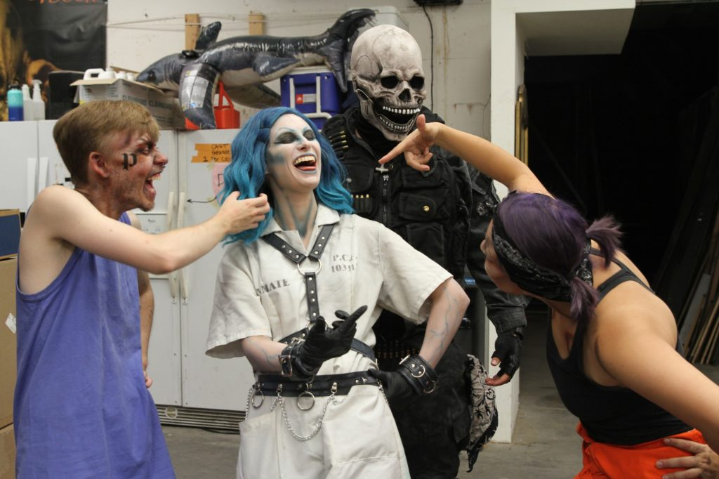 The 17th Door Haunted Experience cast members have fun backstage.