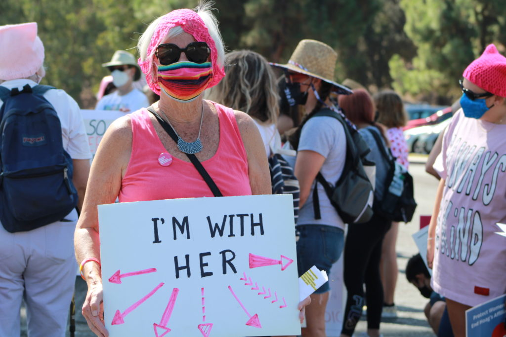 Doris shows her solidarity during Saturday's Women's March.