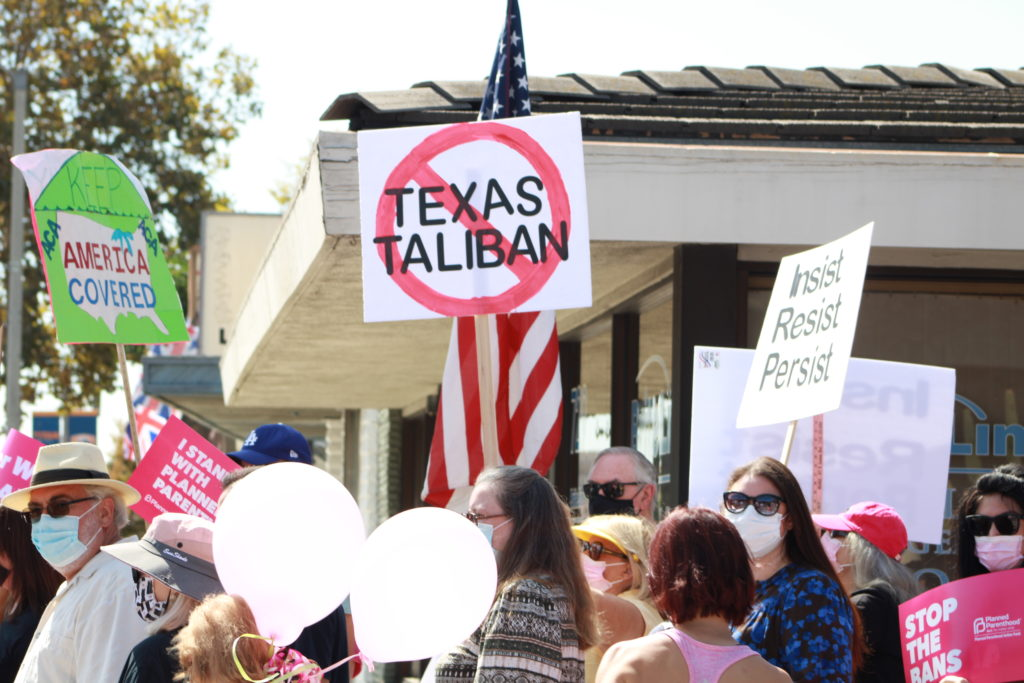 Demonstrators marched for women's rights on Saturday.